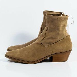 Womens Loraine Microsuede Western Sock Booties Tan